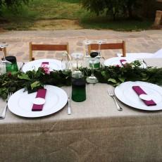 Montaje mesas para Boda en exterior