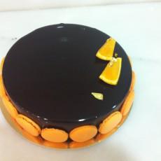 Tarta de chocolate y cremoso de naranja